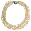 Estate Jewelry:Necklaces, Aquamarine, Diamond, Freshwater Cultured Pearl, Gold Necklace. ...