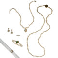 Estate Jewelry:Lots, Cultured Pearl, Diamond, Multi-Stone, Gold, Silver, White Metal Jewelry. ... (Total: 6 Items)