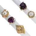 Estate Jewelry:Rings, Diamond, Amethyst, Mabe Pearl, Gold Rings . ... (Total: 5 Items)