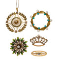 Estate Jewelry:Lots, Antique Diamond, Multi-Stone, Cultured Pearl, Seed Pearl, Enamel, Gold, Gold-Filled Jewelry. ... (Total: 5 Items)