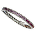 Estate Jewelry:Bracelets, Multi-Color Sapphire, Ruby, Diamond, White Gold Bracelet . ...