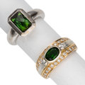 Estate Jewelry:Lots, Diopside, Tourmaline, Diamond, Gold Rings. ... (Total: 2 Items)