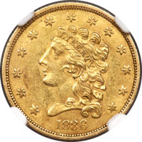 1836 $2 1/2 Block 8, Large Head, HM-1, R.3, MS60+ NGC. Well struck with satiny wheat-gold luster and minor abrasions. Th...