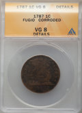 1787 1C Fugio Cent, STATES UNITED, 4 Cinquefoils, Pointed Rays, -- Corroded -- ANACS. VG8 Details
