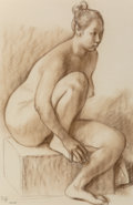 Works on Paper:Print, Francisco Zúñiga (Mexican, 1912-1998). Desnudo sentado, 1978. Sepia crayon on Ingres-Fabriano paper. 27-1/2 x 19-1/2 inc...