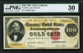 Large Size:Gold Certificates, Fr. 1206 $100 1882 Gold Certificate PMG Very Fine 30.. ...