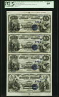 National Bank Notes:Wisconsin, Wausau, WI - $10-$10-$10-$20 1882 Date Back Uncut Sheet Fr. 540/550 The National German-American Bank Ch. # (M)4744 PC...