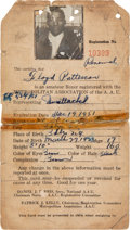 Boxing Collectibles:Memorabilia, 1951 Floyd Patterson Signed Amateur Registration Card. ...