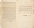 "Autographs:Others, 1812 President James Monroe Signed ""War of 1812"" Document...."