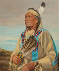 Henry Metzger (Canadian/French, 1876-1949) Chief Mato (Jumping Bear) Souix Indian Oil on canvas 2