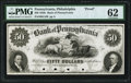 Obsoletes By State:Pennsylvania, Philadelphia, PA- Bank of Pennsylvania $50 18__ Proof G190 PMG Uncirculated 62.. ...