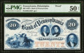 Obsoletes By State:Pennsylvania, Philadelphia, PA- Bank of Philadelphia $20 18__ Proof G184 Hoober 305-100 PMG About Uncirculated 50 Net.. ...
