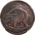 Undated 1/2 P London Elephant Token, LON DON -- Tooled -- PCGS Genuine. XF Details. Betts-82, Hodder 2-D, W-12060, High...