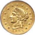 Territorial Gold , 1852 $10 Wass Molitor Ten Dollar, Large Head -- Filed Rims -- PCGS Genuine. AU Details. K-4, R.5....