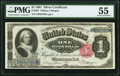 Large Size:Silver Certificates, Fr. 223 $1 1891 Silver Certificate PMG About Uncirculated 55.. ...