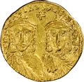 Ancients:Byzantine, Ancients: Constantine V Copronymus (AD 750-775), with Leo IV. AV solidus (20mm, 4.39 gm, 6h). NGC Choice XF 4/5 - 4/5....