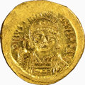 Ancients:Byzantine, Ancients: Justinian I the Great (AD 527-565). AV solidus (20mm, 4.47 gm, 6h). NGC MS 4/5 - 4/5....