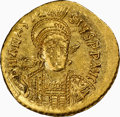 Ancients:Byzantine, Ancients: Anastasius I (AD 491-518). AV solidus (20mm, 4.47 gm, 6h). NGC AU 3/5 - 4/5....