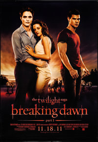 "The Twilight Saga: Breaking Dawn - Part 1 (Summit Entertainment, 2011). Rolled, Very Fine. Bus Shelter (47.5"" X 68..."