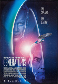 "Star Trek: Generations (Paramount, 1994). Rolled, Very Fine. Bus Shelter (48"" X 68.75"") DS Advance. Science Fi..."