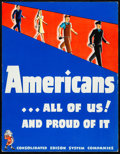 """Movie Posters:War, World War II Propaganda (Consolidated Edison, c.1940s). Very Fine-.Poster (13.5"""" X 17.5""""). """"Americans...All of Us!"""" War.. ..."""