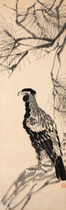 Paintings, After Qi Baishi (Chinese, 1864-1957). Eagle and Pine. Woodblock on paper. 55 x 17-1/2 inches (139.7 x 44.5 cm). Signed a...