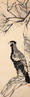 After Qi Baishi (Chinese, 1864-1957) Eagle and Pine woodblock on paper 55 x 17-1/2 inches (139.7