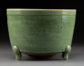 Ceramics & Porcelain:Chinese, A Chinese Incised Longquan Tripod Censer, Ming Dynasty . 7-1/2 x 10-1/2 inches (19.1 x 26.7 cm). ...