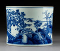 Ceramics & Porcelain:Chinese, A Chinese Blue and White Porcelain Brush Pot, . Qing Dynasty, Kangxi Period. 6-1/4 x 7-3/4 inches (15.9 x 19.7 cm). ...