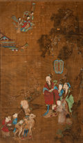 Paintings:Chinese, Chinese School (18th Century). Fu, Lu and Shou, Qing Dynasty, Qianlong Period . Ink and color on silk . 61-3/4 x 36-1/2 ...