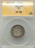 Bust Quarters, 1831 25C Small Letters, B-4, R.1, VF30 ANACS....