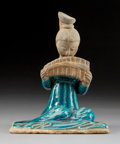 Ceramics & Porcelain:Chinese, A Chinese Turquoise-Glazed Pottery Musician Figure, Yuan-Ming Dynasty . 8-3/4 x 6-3/4 x 5-1/2 inches (22.2 x 17.1 x 14.0 cm)...