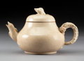 Ceramics & Porcelain:Chinese, A Chinese Ge-Type Pottery Teapot with Figural Spout, Handle, and Finial, Qing Dynasty, 19th century . Marks: (undeciphered)...