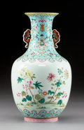 Ceramics & Porcelain:Chinese, A Fine Chinese Famille Rose Enameled Twin-Handled Porcelain Vase, Qing Dynasty, Daoguang Period. Marks: Six-character Daogua...