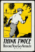 """Movie Posters:Miscellaneous, Safety Education (National Safety Council, 1931). Folded, VeryFine-. Educational Poster (30"""" X 40"""") """"Think Twice Bef..."""