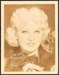 "Movie Posters:Miscellaneous, Mae West (Paramount, Late 1930s). Very Fine+. Autographed Fan ClubPhoto (5.5"" X 7"") with Original Studio Envelope. Miscella...(Total: 2 Items)"