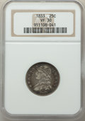 Bust Quarters: , 1833 25C VF30 NGC. NGC Census: (18/143). PCGS Population: (27/234). VF30. Mintage 156,000. ...