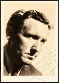 """Spencer Tracy (MGM, Early 1940s). Very Fine. Autographed Fan Club Photo (5"""" X 7"""") with Original Envelope. Misc..."""