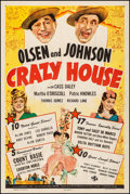 """Movie Posters:Comedy, Crazy House (Universal, 1943). Fine/Very Fine on Linen. One Sheet(27.25"""" X 40.75""""). Comedy. From the Collection of Frank ..."""