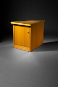 Furniture , Frank Lloyd Wright (American, 1867-1959). Corner Cabinet from Price Tower, Bartlesville, Oklahoma, 1956. Mahogany, brass...