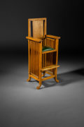 Furniture , William Drummond (American, 1876-1948). Highchair, circa 1902. Oak and leather. 38-7/8 x 15-7/8 x 15-3/4 inches (98.7 x ...