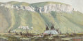 Paintings:20th Century, Ken Longmore (American, 20th Century). Indian Camp, 1979. Gouache on illustration board. 13-1/4 x 25-1/4 inches (33.7 x ...