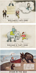 Political:Small Paper (1896-present), William Howard Taft: Three Rare Postcards.. ...