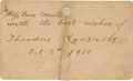Political:Miscellaneous Political, Theodore Roosevelt: Autographed Card.. ...
