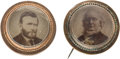 Political:Ferrotypes / Photo Badges (pre-1896), Ulysses S. Grant and Horace Greeley: Matched Pair of Cardboard Picture Pins Under Glass.. ... (Total: 2 Items)