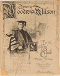 Political:Small Paper (1896-present), Woodrow Wilson: 1906 Testimonial Dinner Program Cover Autographed by Wilson as President of Princeton.. ...