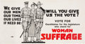 Political:Posters & Broadsides (1896-present), Woman's Suffrage: Terrific World War I Trolley Card.. ...