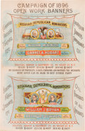 Political:Posters & Broadsides (1896-present), McKinley & Hobart and Bryan & Sewall: Colorful Jugate Banner Advertising Poster.. ...