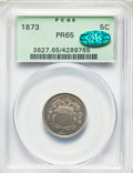 Proof Shield Nickels, 1873 5C Closed 3 PR65 PCGS. CAC. PCGS Population: (110/37). NGC Census: (103/42). CDN: $480 Whsle. Bid for problem-free NGC...