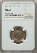 Buffalo Nickels, 1913-S 5C Type One MS62 NGC. NGC Census: (222/1062). PCGS Population: (175/2168). CDN: $100 Whsle. Bid for problem-free NGC...